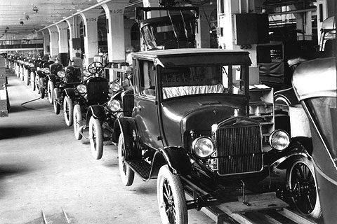 The Model T was the first automobile mass produced on assembly lines with completely interchangeable parts.