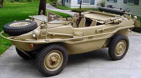 The Schwimmwagen or swimming car was based on Volkwagen KdF Wagen, later the VW Beetle, via the Kubelwagen