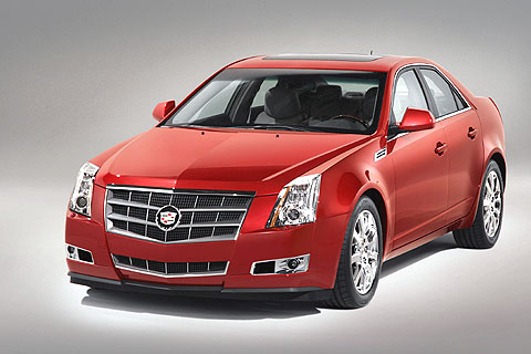 The Cadillac CTS has a new body with wide, dramatic fender flares and a big, aggressive grille opening.