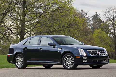 The 2008 Cadillac STS full-size luxury sedan is slotted between the smaller CTS and the behemoth DTS road going ocean liner. The STS is available in three trim levels. They are the STS V6 MSRP $43,215 the STS V8 MSRP $53,490 and STS-Platinum MSRP $59,090