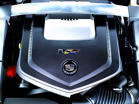 This is the heart of the 2012 Cadillac CTS-V, a 6.2-liter supercharged V8 that makes 556 horsepower. It's hard to believe Cadillac could cram it into the small CTS engine bay
